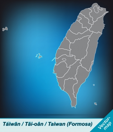 Map of Taiwan with borders in bright gray