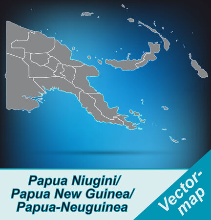 papouasie: Carte de la Papouasie-Nouvelle-Guin�e avec des fronti�res en gris clair