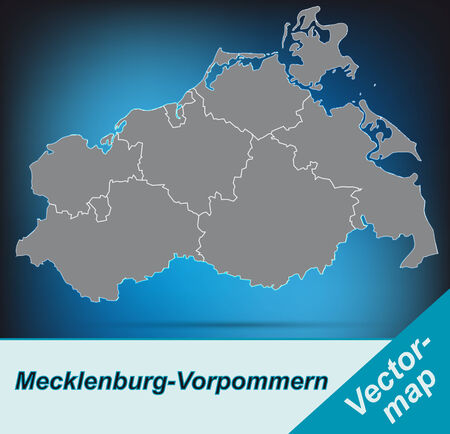 greifswald: Map of Mecklenburg-Western Pomerania with borders in bright gray