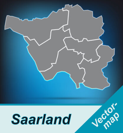 saarlouis: Map of Saarland with borders in bright gray Illustration