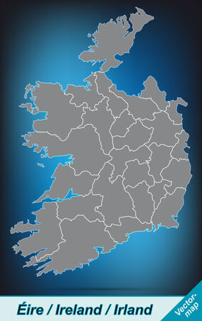 dun: Map of Ireland with borders in bright gray Illustration