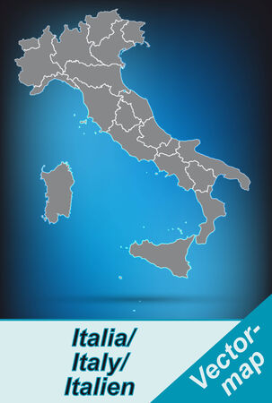 terni: Map of Italy with borders in bright gray Illustration
