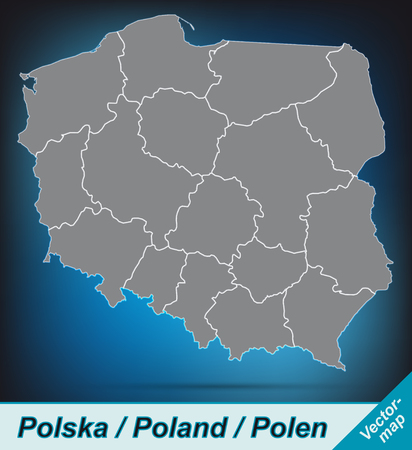 Map of Poland with borders in bright gray