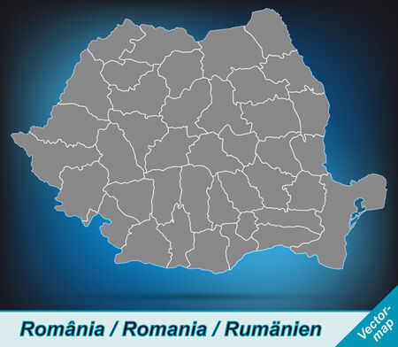 Map of Romania with borders in bright gray