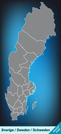 sverige: Map of Sweden with borders in bright gray