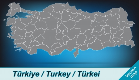 Map of Turkey with borders in bright gray Vectores