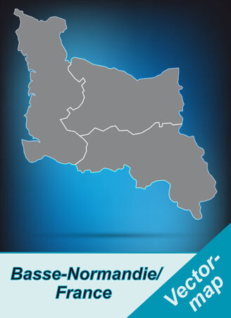 basse normandy: Map of Lower Normandy with borders in bright gray