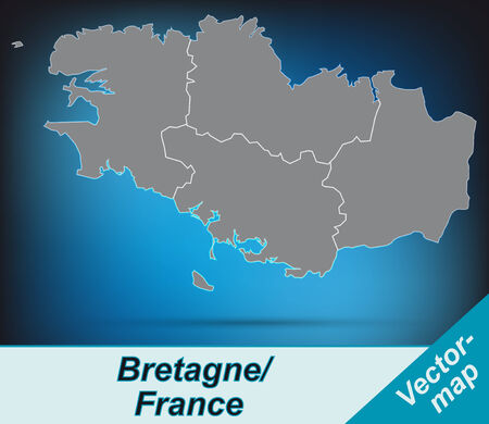 brittany: Map of Brittany with borders in bright gray