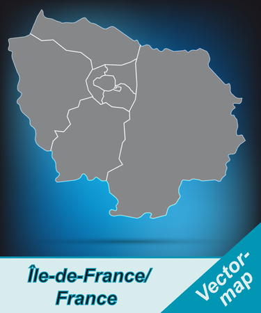 Map of Ile-de-France with borders in bright gray