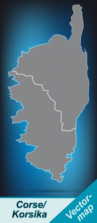 ajaccio: Map of corsica with borders in bright gray