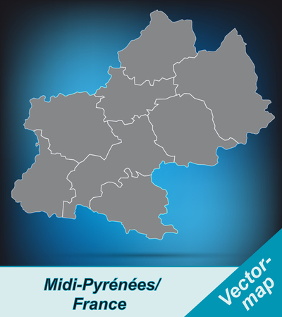 Map of Midi-Pyrenees with borders in bright gray Ilustrace