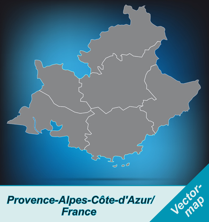 azur: Map of Provence-Alpes-Cote d Azur with borders in bright gray