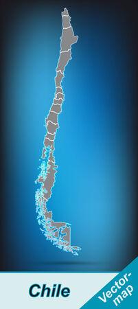 明るいグレーのボーダーとチリの地図 写真素材 - 25153883