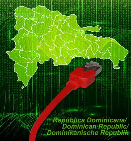 Map of Dominican Republic with borders in network design Vector