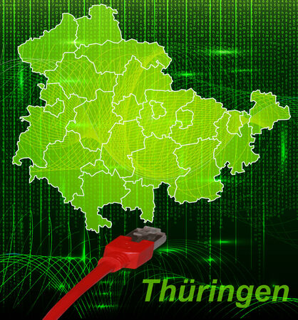 Map of thuringia with borders in network design