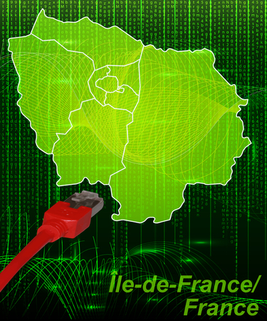 versailles   france: Map of Ile-de-France with borders in network design Illustration