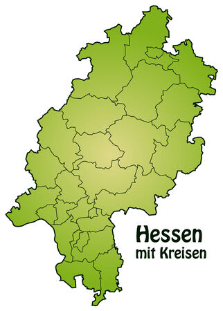 hesse: Map of Hesse with borders in green Illustration