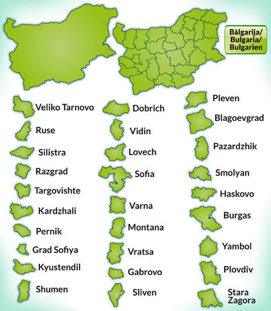 Map of Bulgaria with borders in green