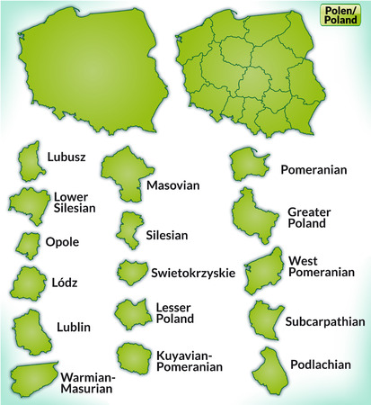 wroclaw: Map of Poland with borders in green
