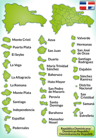 general maps: Map of Dominican Republic with borders in green Illustration