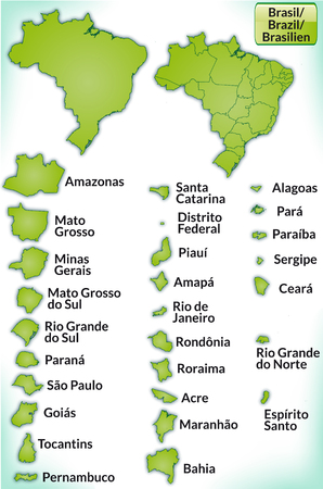 belem: Map of Brazil with borders in green