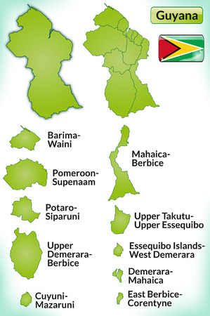 guyana: Map of Guyana with borders in green