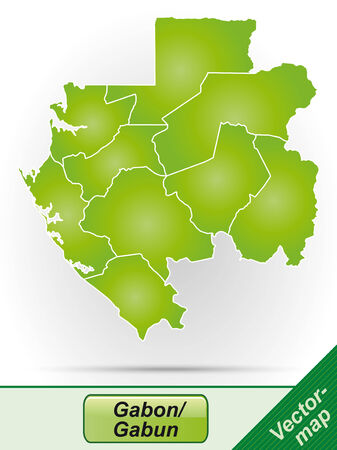 gabon: Map of gabon with borders in green