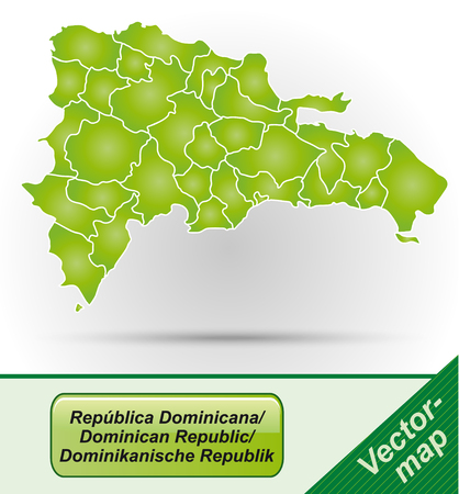Map of Dominican Republic with borders in green Vector