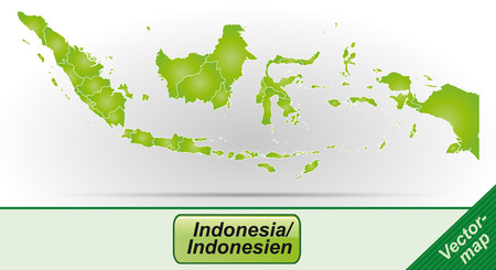 site map: Map of Indonesia with borders in green Illustration