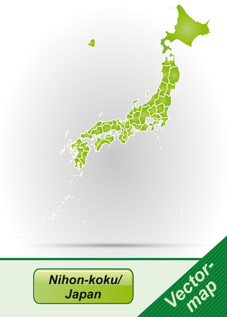 nihon: Map of Japan with borders in green