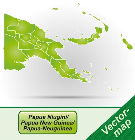 papouasie: Carte de la Papouasie-Nouvelle-Guin�e avec des fronti�res en vert
