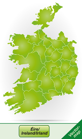 Map of Ireland with borders in green Illustration
