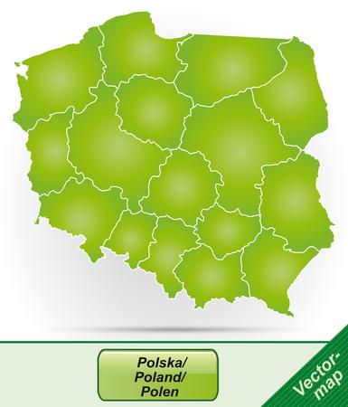 Mapa Polski z granicami w zielone Ilustracje wektorowe