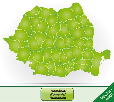 Map of Romania with borders in green Illustration
