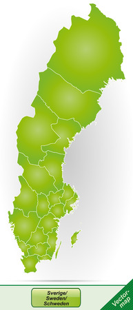 sverige: Map of Sweden with borders in green