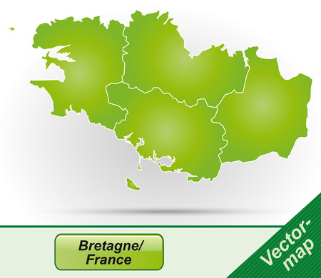 brittany: Map of Brittany with borders in green Illustration