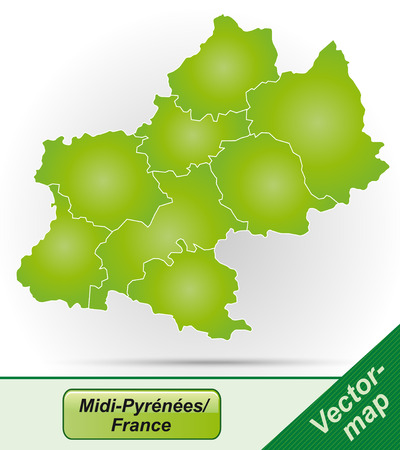 Map of Midi-Pyrenees with borders in green