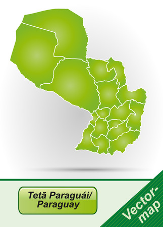 Map of Paraguay with borders in green Ilustração