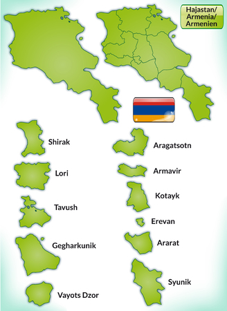 map of armenia: Map of Armenia with borders in green
