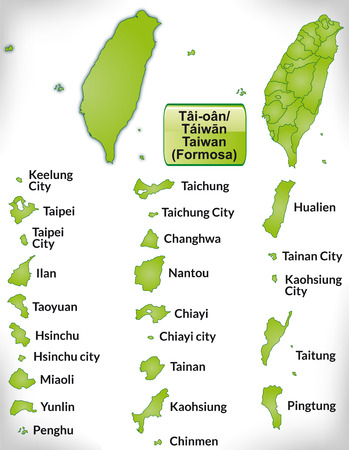 taiwan: Map of Taiwan with borders in green Illustration