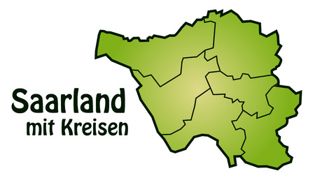 saarland: Map of Saarland with borders in green