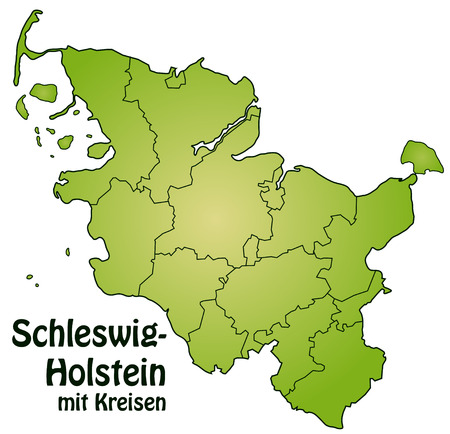 schleswig holstein: Map of Schleswig-Holstein with borders in green