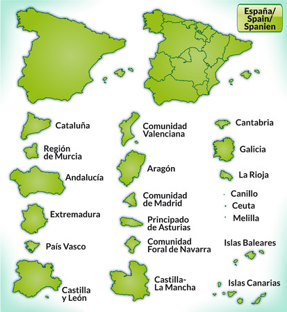 bilbao: Map of Spain with borders in green Illustration