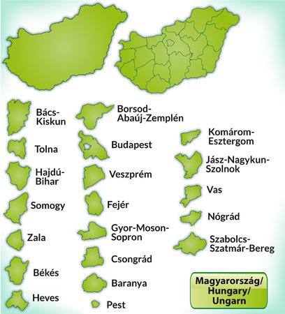 Kaart van Hongarije met randen in het groen Stock Illustratie