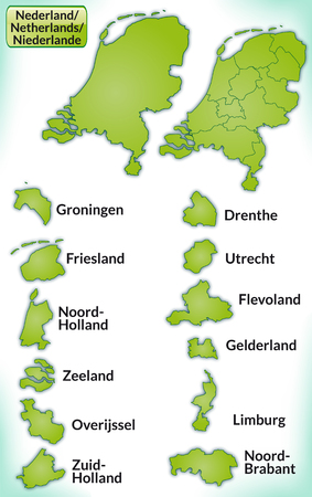 haarlem: Map of Netherlands with borders in green Illustration