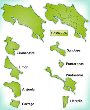 Map of Costa-Rica with borders in green Illustration