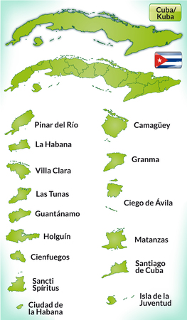 guantanamo: Map of Cuba with borders in green