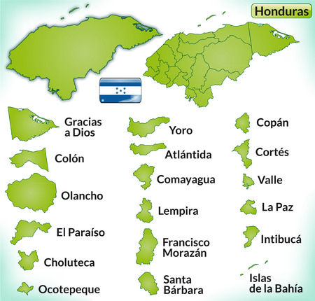 Map of Honduras with borders in green Illustration