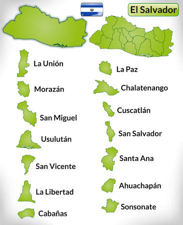 mapa de el salvador: Mapa de el-salvador con bordes en verde Vectores