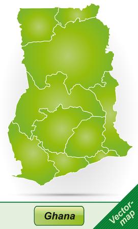 ghana: Carte du Ghana avec des fronti�res en vert